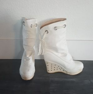 White Lace Detailed Booties